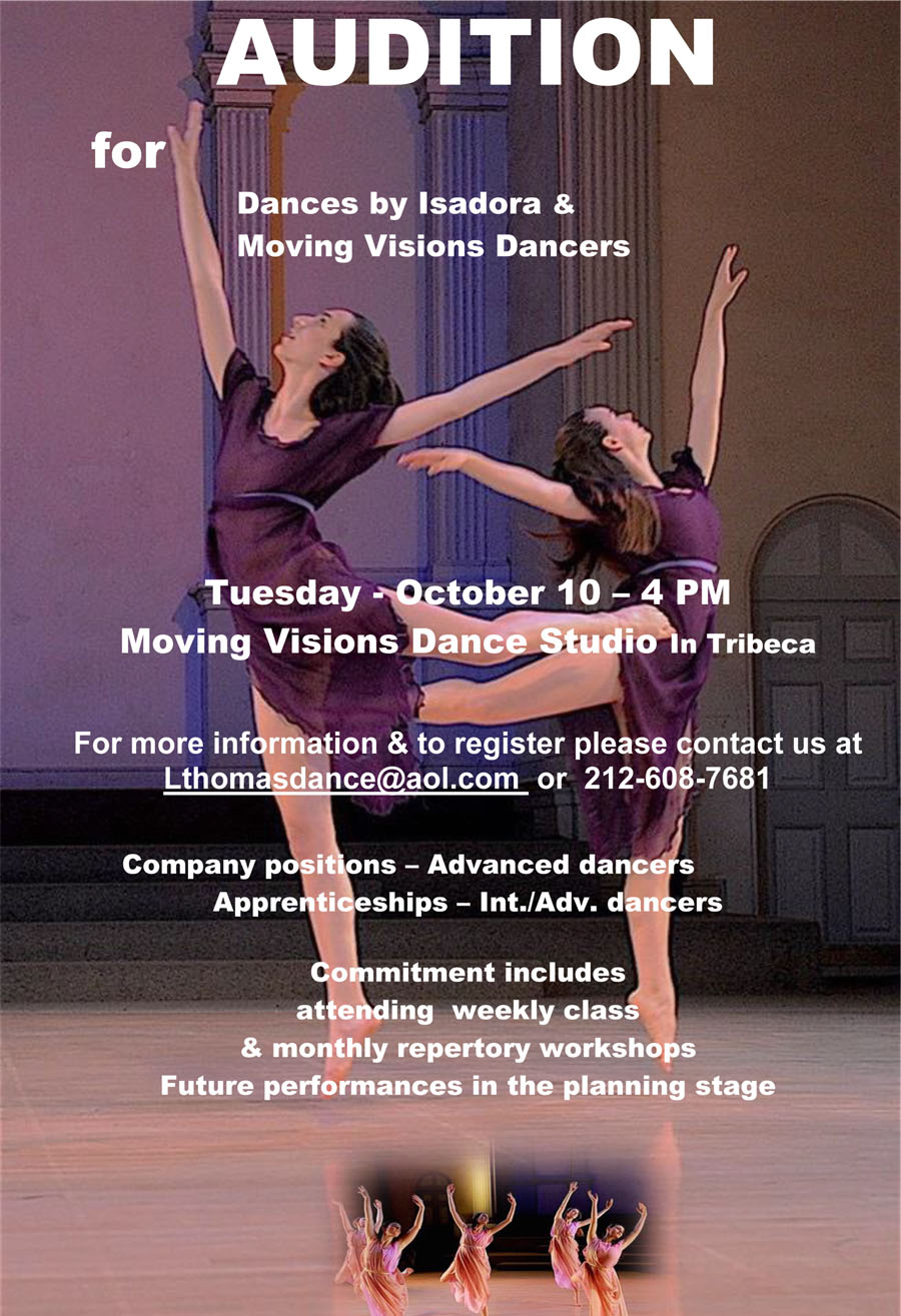 AUDITION for Dances by Isadora and Moving Visions Dancers